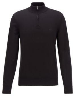 HUGO BOSS Zip-neck sweater in pure cotton with logo embroidery