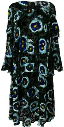 Talbot Runhof Velvet Floral Print Dress