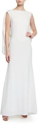 Tadashi Shoji Cape-Sleeve Low-Back Crepe Gown