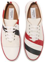 Thom Browne Striped Cotton And Leather Sneakers