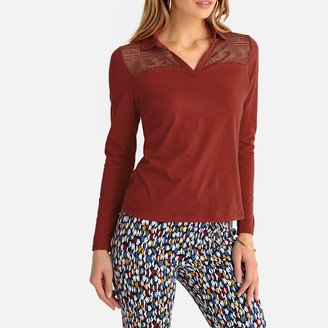 Anne Weyburn Guipure Lace Polo Shirt in Cotton with Long Sleeves