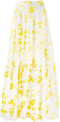 Plan C Flared Floral-Print Maxi Skirt