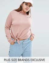Daisy Street Plus High Neck Sweat Top With Knot Detail