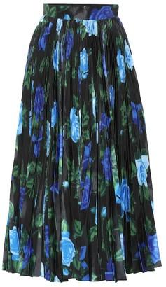 Richard Quinn Floral high-rise satin midi skirt