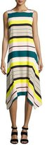 Lafayette 148 New York Romona Sleeveless Merengue-Striped Tech Dress, Multi