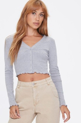 Forever 21 Button-Front Lettuce-Edge Top