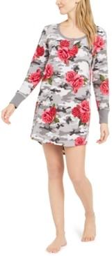 Betsey Johnson Floral-Print Henley Fleece Sleep Shirt