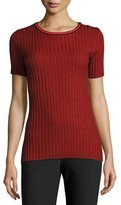 St. John Ribbed Jewel-Neck Short-Sleeve Sweater, Caviar/Hibiscus