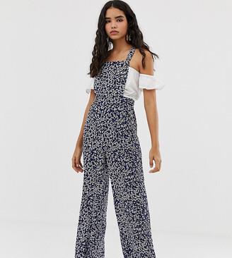 Miss Selfridge pinny jumpsuit in ditsy print-Navy