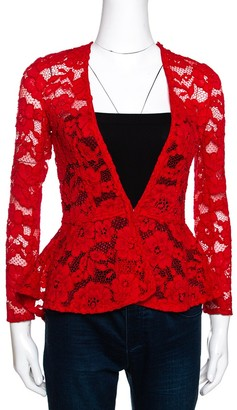 Carolina Herrera Red Floral Lace Jacket S