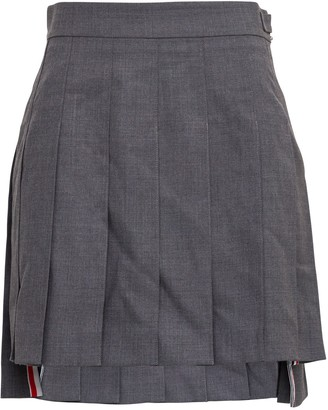 Thom Browne Flared Pleated Gray Skirt With Iconic Detail