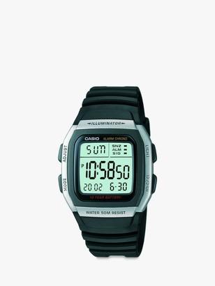 Casio W-96H-1AVES-SS Unisex Vintage Resin Strap Watch, Black/Green