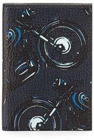 Salvatore Ferragamo Capsule Now Motorcycle Bi-Fold Leather Card Case, Deep Blue/Black