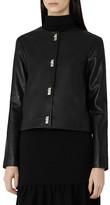 Reiss Heart Twist-Lock Leather Jacket