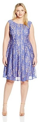 Julian Taylor Women's Plus-Size Rose-Lace Fit-and-Flare Dress