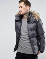 Schott Quilted Padded Jacket With Detachable Hood
