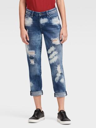 DKNY Women's The Girlfriend Jean - Destructed - Overcast - Size 26