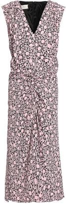 Marni Printed Ruched Crepe Midi Dress
