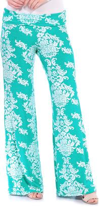 Brooke & Emma Women's Casual Pants MINT - Mint Damask Palazzo Pants - Women & Plus