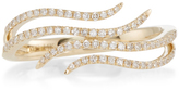 Ef Collection 14K Yellow Gold Diamond Double Wave Ring