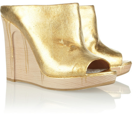 Maison Martin Margiela Metallic leather and wooden wedge mules