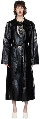Lemaire Black Vinyl Trench Coat