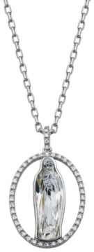 PRIME ART & JEWEL Swarovski and Cubic Zirconia Religious Pendant in Sterling Silver Over Bronze