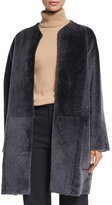 Vince Reversible Shearling Fur Car Coat, Graphite