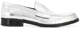 College Croc-Embossed Penny Loafers