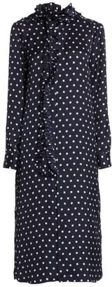 Plan C Polka Dot Ruffle Scarf Midi Dress