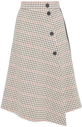 Maje Jessil Wrap-effect Checked Jacquard Skirt