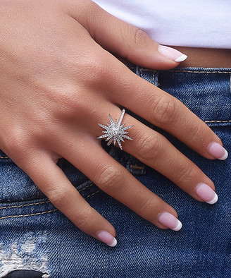 Swarovski Golden Moon Women's Rings Silver - Sterling Silver Shooting Star Statement Ring With Crystals