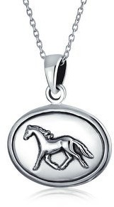 Bling Jewelry Horse Equestrian Oval Medallion Pendant Necklace 925 Sterling Silver