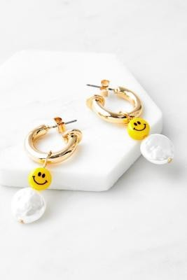 Urban Outfitters Gold-Tone Face Bead & Pearl Hoop Earrings - Gold ALL at
