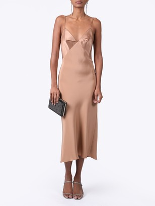 Cushnie Silk Paneled Midi Dress Camel