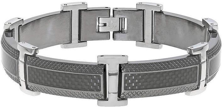 JCPenney FINE JEWELRY Mens Stainless Steel & Black IP Bracelet