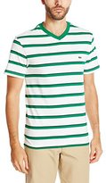 Lacoste Men's Short Sleeve Striped Jersey Regular Fit V Neck T-Shirt