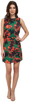 Vince Camuto Sleeveless Batik Floral Dress w/ Smocked Yoke