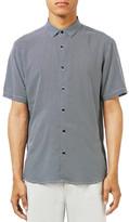 Topman Dot Print Short Sleeve Shirt