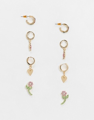 ASOS DESIGN pack of 4 earrings with flower stud and crystals in gold tone