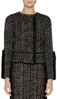Agnona Tweed Biker Jacket w/Mink Fur Trim, Black