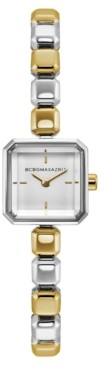 BCBGMAXAZRIA Ladies Two Tone Bracelet Watch with Silver Square Dial, 20mm