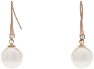 Gregory Ladner Faux Round Pearl With CZ Drop Earring