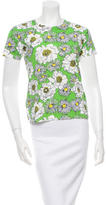 Prada Short Sleeve Floral Print Top