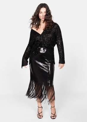 MANGO Violeta BY Sequin shirt black - 10 - Plus sizes