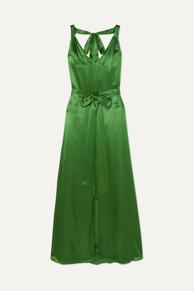 Temperley London Darling Belted Silk-blend Satin Maxi Dress - Green
