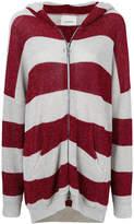 Laneus lurex stripe hooded cardigan