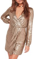 HaoDuoYi Women's Sparkly Sequin Deep V Neck Long Lantern Sleeve Wrap Dress(M,)