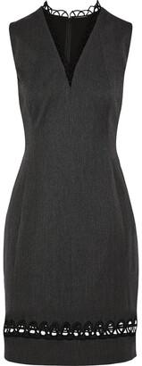 Elie Tahari Roanna Lattice-trimmed Cotton-blend Mini Dress
