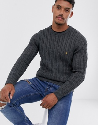 Farah Ludwig cotton cable crew neck sweater in charcoal